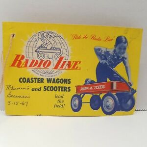 VTG 50s Radio Line Coaster Flyer Wagons & Scooters OEM Hang Tag W/ Instructions