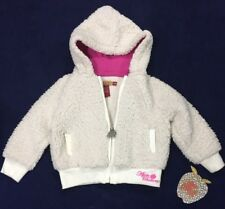 Apple Bottoms Baby Girls Appliqué Sherpa Hooded Jacket Size 18 Month NWT