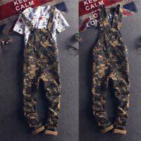 Men Camo Bib Overalls Dungarees Suspenders Jumpsuits Straight Pants Casual Jeans