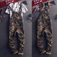 Men Camo Bib Overalls Dungarees Suspenders Jumpsuits Straight Pants Casual Jeans