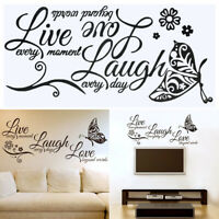 Live Laugh Love Quotes Butterfly Wall Stickers Room Decal Home Room Decor Cute
