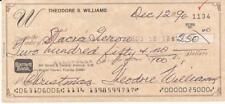 Ted Williams Autograph Christmas Check COA Letter Claudia Williams Signed Auto
