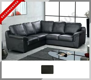 LARGE CORNER SOFA Amelia Corner Sofa in Faux Leather Material | Black Colour