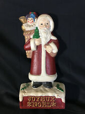 Old Vtg Metal Christmas Holiday Standing Santa Claus Kris Kringle Cast Iron