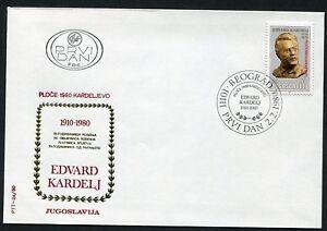 1820b -Yugoslavia 1980 - Edvard Kardelj - Overprint - FDC