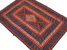 Black Orange Parsi Fine Embroidery Tapestry Indian Wall Hanging Sari Textile 60""