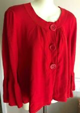 NWT Willi Smith Long Bell Sleeve Button Front Ribbed Knit Red Cardigan Large