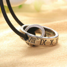 Mens Roman Numerals Leather Rope Cord Necklace Doulbe Rings Pendant Necklace x