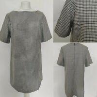 AVENUE Women's Shift Dress Houndstooth Print Check Black White Office Blooger 16