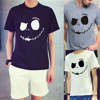 Mens Evil Smile T-Shirt Short Sleeve Graphic Tee Shirt Casual Loose Tops Blouse