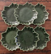 6 Vtg Russel Wright Steubenville Woodfield Leaf Salad Plates Dark Forest Green
