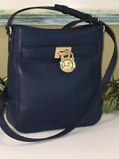 MICHAEL KORS HAMILTON TRAVELER CROSSBODY MESSENGER SHOULDER BAG NAVY BLUE LEATHE