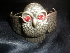 Fashion Bronze effect Owl Bangle with red Crystal Eyes