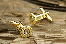 357 Magnum Brass Bullet Cufflinks Wedding Cuff Links RP-357-BN FREE SHIPPING