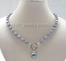 """20"""" 9-11mm black freshwater pearl necklace & 14mm sea shell pearl pendant"""