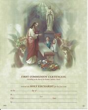 FIRST HOLY COMMUNION Certificate Jesus with Boy and Girl Catholic picture Italy