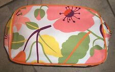 424 Clinique Pink Floral Zippered Cosmetic Make Up Bag Purse