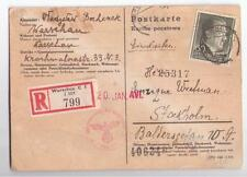 WW2 1943 GERMANY POLAND SWEDEN  POSTCARD GENERALGOUVERNEMENT REGISTERED CENSORED
