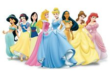 Disney Princess 48 Large Sticky White Paper Stickers Labels New