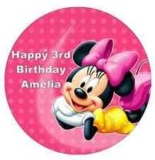 """MINNIE Mouse personalizzati CAKE TOPPER 7,5 """"wafer commestibile carta festa di compleanno"""
