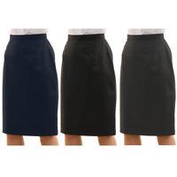 Womens Plus Size Plain Formal Pencil Office Skirt Straight Cut Zip Sizes 16-30