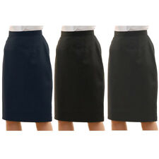 Womens Plus Size Plain Formal Pencil Office Skirt Straight Cut Zip Sizes 16-30
