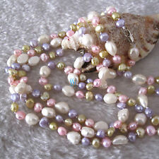 "54"" 5-10mm Multi Color Baroque Freshwater Pearl Necklace A"