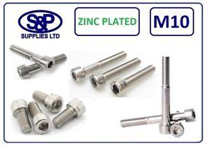 M10 Cap Head Socket Screw Allen Bolt Steel Gr12.9 Zinc Plated DIN912 10MM / 10mm