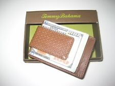 Tommy Bahama Mens Leather Credit Card Wallet with Magnetic Money Clip Cognac NIB