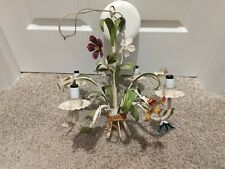 New listing Vintage Italian Tole Metal Chandelier Flowers Shabby Chic 4 Light