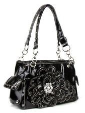 DAZZLING PARTY BLING DRESSY FLOWER RHINESTONE WESTERN SHOULDER BAG PURSE BLACK