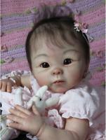 Reborn Doll Kits Vinyl Lifelike Asian Baby Unpainted Head Limbs for 19'' Dolls