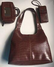 NINE WEST 3 PC leather Brown Shoulder Hobo Handbag+Cell Phone Holder+Makeup bag