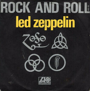 """LED ZEPPELIN ~ Rock and Roll ~ 1972 French Atlantic wide centre 7"""" single in p/s"""