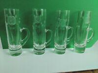 Set of 4 Vintage Etched Glass Cylinder Shot Glasses Handle Cordial Rose Shooter