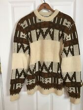 Vintage Indian Brand Chunky Knit Cowhican Wool Brown Cream Sweater Medium