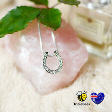 Lucky Charm Horse Shoe U Pendant Necklace Clear Crystal Rhinestone Silver