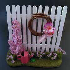 Dollhouse Miniature Spring Garden Fence w/flowers, wreath & watering can 1:12