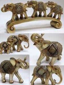 Gold Exotic Sparkling Glitter Standing Elephant Ornament Figurine Home Decor