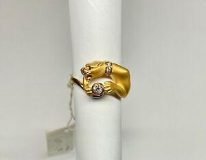 Carrera y Carrera 18k Yellow Gold Designer Panther Ring w/Ruby & 0.25CT Diamonds