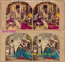 18 colorierte estéreo fotos hermosas genre alrededor de 1880, lot 9