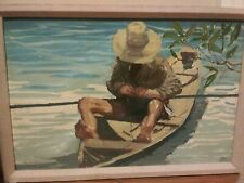Original Acrylic Painting Man Fishing On Boat by Pablo Matania