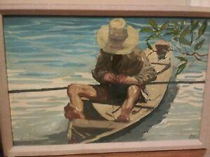 Original Acrylic Painting Man Fishing On Boat by Pablo Matania