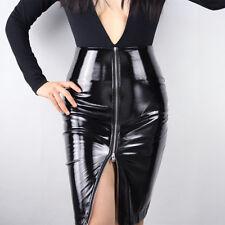 LATEX PENCIL SKIRT Shine Patent Leather Black High Rise Split Zipper Vinyl PVC