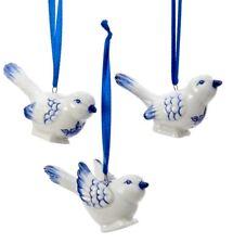 Kurt Adler Blue and White Birds Holiday Ornaments Set of 3 Porcelain
