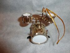 """DRUM SET MUSICAL INSTRUMENT ORNAMENT WITH CYMBOL 3""""  WHITE CLASSIC INSTRUMENT"""