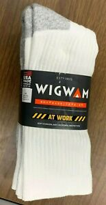 WIGWAM MEN SIZE LARGE USA MADE 3 PACK COMFORTABLE HEAVY DUTY WHITE CREW SOCKS