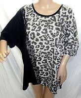 Dex Women Plus Size 3x Black Gray Animal Print Tunic Top Blouse Shirt Lace