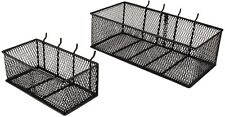 Steel Mesh Pegboard Basket Black 2-Pack Home Kitchen Garage Organizer Storage