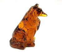"Vintage Mosser Glass Amber 3"" Collie Sheltie Dog Figurine"